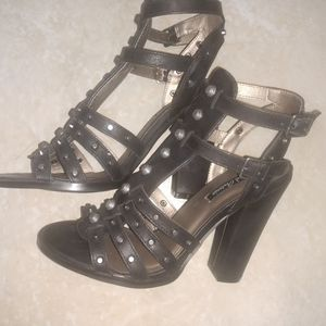 Black High Heel Studded Shoes, New, Size 6.5